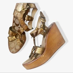 Coach Mayra Wooden Strappy Gold Wedges sz 8B
